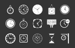 Wall clock icon set grey vector. Wall clock icon set vector white isolated on grey background Royalty Free Stock Photography