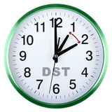 Wall clock isolated on white. Daylight saving time Stock Photo