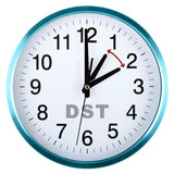 Wall clock isolated on white. Daylight saving time Royalty Free Stock Photo