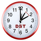 Wall clock isolated on white. Daylight saving time Royalty Free Stock Image