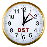 Wall clock isolated on white. Daylight saving time Royalty Free Stock Photos