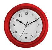 Wall clock isolated on white. Ten past ten. Royalty Free Stock Image