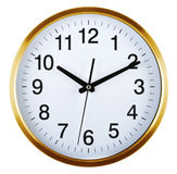 Wall clock isolated on white. Ten past ten. Stock Images