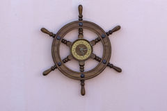 Wall clock made from boat steering Stock Image