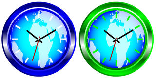 Wall Clock With Map of World royalty free illustration