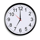 Wall clock mock up isolated on white background. Round clock face showing seven o`clock Vector illustration Stock Photos