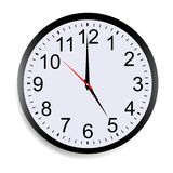 Wall clock mock up showing five o`clock. Isolated on white background. Vector illustration Stock Photography