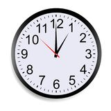 Wall clock mock up showing thirteen o`clock. Isolated on white background. Vector illustration royalty free illustration
