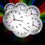 Wall Clock On Multicolor Background vector illustration