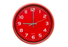 Wall clock. Red wall clock isolated on white background Stock Photo