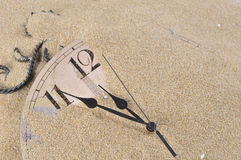 Wall Clock in the sand Stock Photography