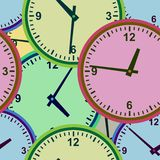 Wall clock. Seamless. Stock Photo