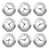 Wall Clock Set on White Background. Vector. Royalty Free Stock Photography