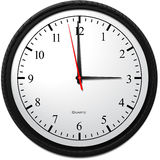 Wall Clock - Showing 3 O`Clock. Business Concept, Wall Clock - Showing 3 O`Clock Royalty Free Stock Photo