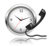 Wall clock and telephone receiver. Round the Clock Support or 24x7 Support Stock Images