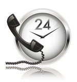 Wall clock and telephone receiver. Round the Clock Support or 24x7 Support Stock Photos