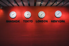 Wall Clock Time zones Around the world Travel concept. Wall Clock Time zones Around the world Lifestyle Travel concept stock photos