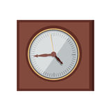Wall Clock Vector Illustration in Flat Design. Wall clock vector in flat style design. Elegant classic square chronograph in wooden body.  Antique interior Stock Images