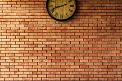 Wall Clock vintage retro styles hanging on the brick wall. Wall Clock vintage retro styles hanging on the brick wall royalty free stock photography