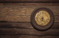 Wall clock without watch hands. Very old clock without watch hand at a wall of a log house from the early 20th century Royalty Free Stock Photography