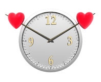 Wall Clock With Two Red Hearts Stock Photos