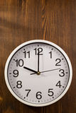 Wall clock on wood Royalty Free Stock Image