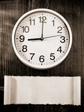 Wall clock on wood Stock Photography