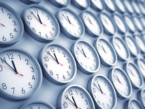 Wall clocks background Royalty Free Stock Images