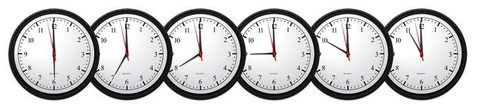 Wall Clocks. Business Concept, Wall Clock - Showing 6 Hours Stock Photography