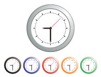 Wall Clocks Colors Design. Collection of generic round wall clocks all pointing to 9:30 in assorted colors Stock Image