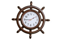 Wall clocks in the form of marine steering wheel Royalty Free Stock Photos