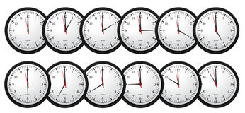 Wall Clocks - Showing All Time Royalty Free Stock Photography