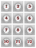 Wall of clocks Royalty Free Stock Photography