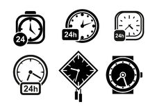 Wall clocks, watch and alarm icons. Clock and time icons with wall clocks, wristwatch and alarm clock with 24 hours signs, for time theme Stock Photo