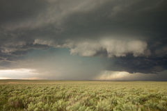 A wall cloud hangs ominously under the updraft of a tornadic supercell thunderstorm. Royalty Free Stock Images