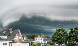 Wall cloud over village Royalty Free Stock Images