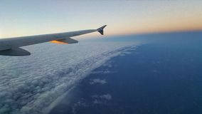 Wall of clouds. Outside my window on a plane Stock Images