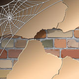 Wall with cobwebs. Old brick wall in the web. Vector Stock Images