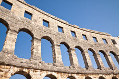 Wall of the coliseum in Pula. Croatia Royalty Free Stock Photography
