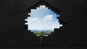 The wall collapses, creating a hole. Businessman standing on high way. The wall collapses, creating a hole. Businessman standing on high way stock illustration