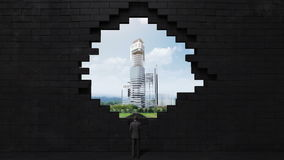 The wall collapses, creating a hole. Businessman standing on high way, road. build buildings. makes cityscape. The wall collapses, creating a hole. Businessman vector illustration