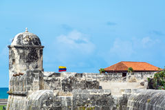 Wall and Colombian Flag Stock Images