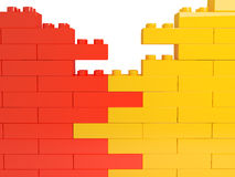 Wall from color plastic blocks. 3d rendered image Stock Photos