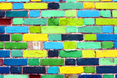 A wall with colored bricks.  royalty free stock image