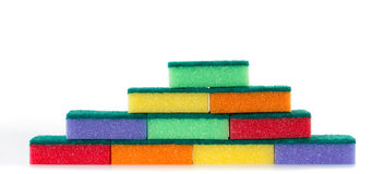 Wall of colored cleaning sponges Stock Images