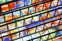 Wall of colored glass in the Media Park in Hilversum Stock Photo
