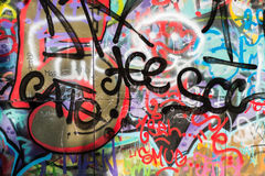Wall of colored grafitti in the city Stock Photography