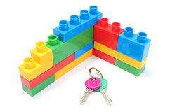 Wall of colorful building blocks with home keys Stock Photography