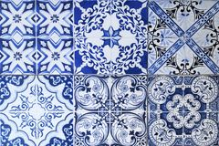 Wall from colorful ceramic tiles for background. Stock Photos