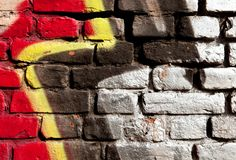 Wall with colorful graffiti on it Stock Photo